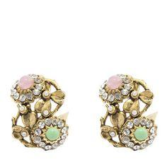 Colorful Garden, Daisies, Swarovski Crystals, Glow, Stones, Delicate, Leaves, Stud Earrings, Romantic