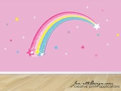 Large Rainbow Wall DecalPlume Of Stars And By JanetteDesign