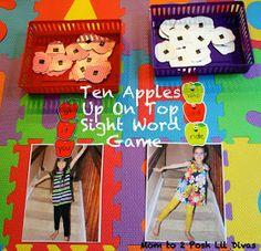 Mom to 2 Posh Lil Divas: Ten Apples Up On Top - Sight Word Game & Balancing Fun