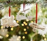 Transportation Glitter Ornaments