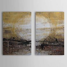 Hand Painted Oil Painting Abstract Sun with Stretched Frame Set of 2 1309-AB0864 – USD $ 89.99