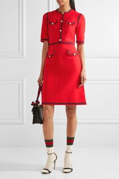Gucci - Grosgrain-trimmed Wool And Silk-blend Cady Mini Dress - Red