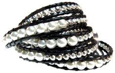 Amazon.com: Elegant Thalia Black and White Genuine Leather Wrap Bracelet, Extra Long 5x Wrap Bracelet: Jewelry $49.95