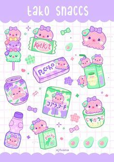 AJ Tuana Cute Food Drawings, Cute Little Drawings, Cute Kawaii Drawings, Arte Do Kawaii, Kawaii Art, Cute Food Art, Cute Art, Kawaii Stickers, Cute Stickers