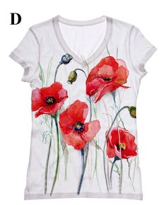 woman red Flower print top, t shirt and tank by hellominky xs - plus size and other apparel, accessories and trends. Browse and shop 10 related looks. T Shirt Painting, Fabric Painting, Paint Shirts, Painted Clothes, Red Flowers, Red Poppies, Flower Prints, Diy Clothes, Wearable Art