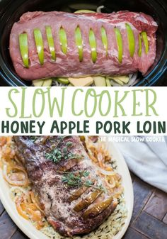 Slow Cooker Honey Apple Pork Loin is a beautiful and tender pork dinner. Apples are tucked into the pork loin and cooked with onions butter honey and a touch of cinnamon. Pork Tenderloin Recipes, Pork Recipes, Slow Cooker Recipes, Cooking Recipes, Pork Roast, Crockpot Recipes, Meal Recipes, Pork Chops, Casserole Recipes