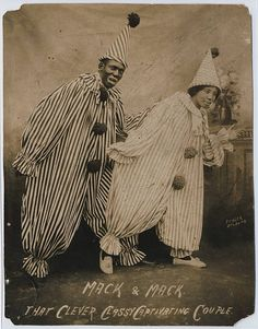 Mack And Mack Clowns - That Clever Classy Captivating Couple. African American Artist, African American History, American Artists, Vintage Clown, Vintage Halloween, Fair Rides, Send In The Clowns, Vintage Images, Black History