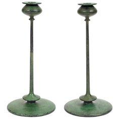 "Early Jarvie candlesticks, pair, Beta model with rare original verdigris patina, original scoop bobeche, some minor wear to patina, unsigned, 5.5""dia x 12.5""h"