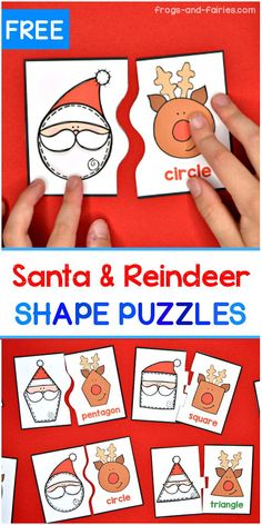Santa- Santa Looking for a fun Christmas shape matching activity? These Free shape puzzles are featuring fun shaped Santa and reindeer! Each puzzle has a different line that connects the two pieces together, making the puzzles self-correcting. Christmas Activities For Kids, Preschool Christmas, Preschool Crafts, Christmas Themes, Kids Christmas, Xmas, Holiday Decor, Shape Puzzles, Santa And Reindeer
