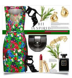 """Bee Inspired"" by helenaymangual ❤ liked on Polyvore featuring Giuseppe Zanotti, Oscar de la Renta, Cult Gaia, Vince Camuto, Jennifer Lopez, Bloomingdale's and Chanel"