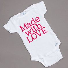 made with love onesie baby baby shower gift by duvdesigns on Etsy, $12.00