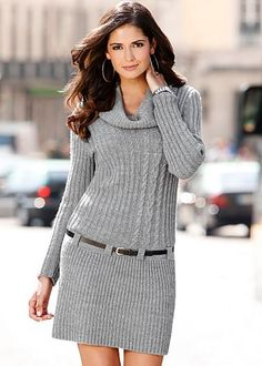 Belted knit sweater dress by VENUS available in sizes XS - L