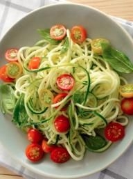 Zucchini Noodles with Cherry Tomatoes and Basil | KitchenDaily.com