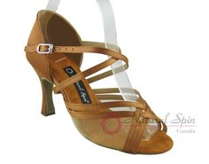 Natural Spin Latin Shoes(Open Toe):  M1105NET-02_DrBrownCS