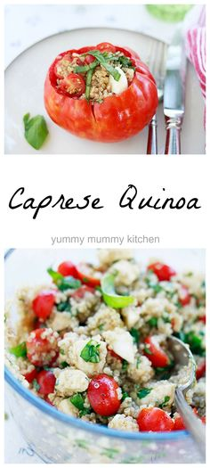 Caprese Quinoa is one of my favorite summer staples. Keep a batch in the fridge for a nourishing snack/meal or serve stuffed in tomatoes.