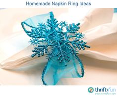 This is a guide about homemade napkin ring ideas. Napkin rings are often used to set a formal or festive table. Although you can certainly buy a wide variety of napkin rings, you can also make simple to elegant ones yourself. Christmas Napkin Rings, Christmas Napkins, Christmas Tea, Christmas Holidays, Christmas Crafts, Christmas Decorations, Christmas Ornaments, Christmas Tablescapes, Christmas Ribbon