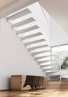 Scari interioare moderne - Traforate.ro Open Basement Stairs, Open Staircase, Grand Staircase, Under Stairs, Staircase Design, Staircase Ideas, Basement Ideas, Interior Staircase, Staircase Remodel