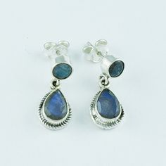 LABRADORITE STONE RAVA DESIGN 925 HANDMADE STERLING SILVER EARRINGS #SilvexImagesIndiaPvtLtd #DropDangle