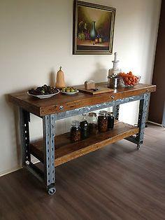 Industrial Vintage Rustic Kitchen Island Breakfast Bar Workbench
