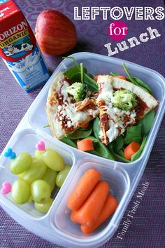 Leftovers for packed for lunch in @EasyLunchboxes - FamilyFreshMeals.com