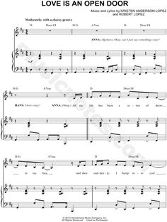 Love Is An Open Door sheet music from Frozen