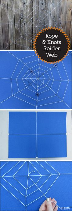 Create a spider web out of rope and knots that can be used both indoors and out. Hang it in a doorway or make a giant web for the yard. Add a few fake spiders for a spooky and realistic look. DIY spider web instructions here: http://www.ehow.com/how_7681167_make-spider-out-rope-knots.html?utm_source=pinterest.com&utm_medium=referral&utm_content=freestyle&utm_campaign=fanpage