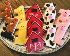 Barnyard Cookies ~ Custom Sugar Cookies ~ Kids Birthday Party ~ Boy or Girl Cow Birthday Parties, Farm Birthday Cakes, First Birthday Cookies, Rodeo Birthday, Farm Animal Birthday, 1st Boy Birthday, Birthday Ideas, Petting Zoo Birthday Party, Cowboy Birthday Party