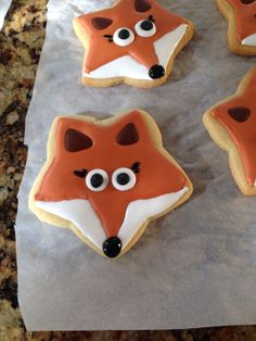 For Aine's party - Fox cookies using star cutter!