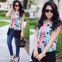 Floral Print Vest Floral print and black color block blazer vest. Worn only once. Gentle Fawn Jackets & Coats Vests