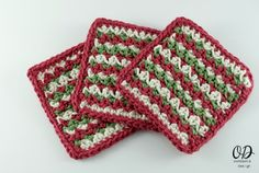 Holiday Coasters | Free Pattern | Oombawka Design Crochet