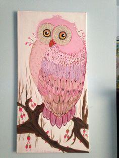 Lechuza rosada!!! Pintura de Helen R Cofone .acrilico