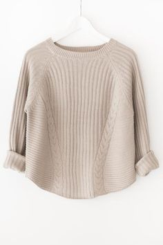- Chunky knit sweater with ribbed and pointelle detailing - High neckline - Long sleeves - Slightly loose fit - Available in beige or dark olive - Acrylic - Imported Winter Sweaters, Blue Sweaters, Sweater Weather, Knitwear Fashion, Knit Fashion, Fashion Fashion, Fashion Women, Fashion Design, Mens Chunky Cardigan