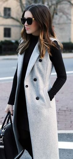 trendy fall outfit/ cashmere vest + sweater + bag + skinnies