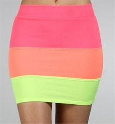 Neon Colorblock Knit Skirt