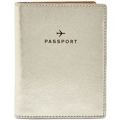 Fossil Leather Travel Passport Wallet ($40) ❤ liked on Polyvore featuring bags, champagne, fossil bags, pocket bag, real leather bags, travels bags and leather travel bag