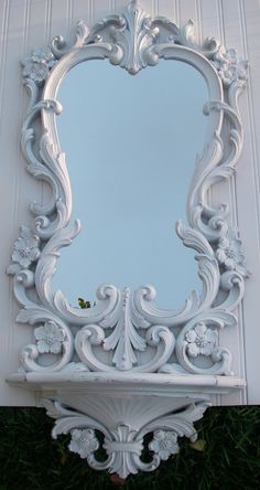 Vintage White Mirror Frame Shelf Syroco Oval Shabby French Country Wedding. via Etsy.