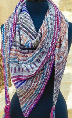 Knitting Pattern for Crosshatch Shawl - This triangular shawl is knit with a solid color and a variegated or self-striping yarn. Designed by Benjamin Matthews