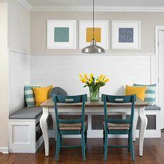 Esszimmer Eckbank+Stühle gelb blau