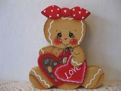 HP Gingerbread box of candy SHELF SITTER hand painted USA