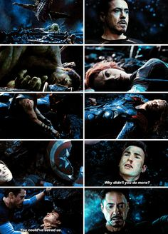 """For anyone who questions Tony's behavior in """"Age of Ultron,"""" go back to this scene. Tony HAS to act alone because his deepest fear is that his friends will all die and he will live. Because he """"didn't do enough"""" to save them. He can't let that happen. Obsessively, he can't involve them (except for Bruce, because he needs Bruce) - he needs to invent, invent, invent to save them. Oh, and the world..."""