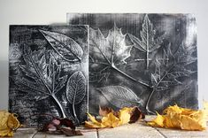"""These <a href=""""http://www.mybakingaddiction.com/leaf-craft-idea/"""" target=""""_blank"""">modern canvases</a> are made with leaves and aluminum foil."""