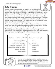 Solid Evidence - free activity page for identifying types of rock