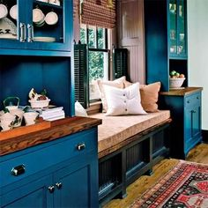 Kitchen window seat with teal cabinets Window Seat Kitchen, Window Seat Storage, Window Seats, Teal Cabinets, China Cabinets, Kitchen Cabinets, Kitchen Units, Living Colors, Kitchen Redo