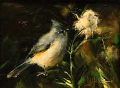 """Titmouse and Thistle"", original oil painting by Ralph Grady James, 6"" x 8"", wildlife, birds, Titmouse, song birds"