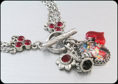 Queen of Hearts Charm Bracelet Stainless by BlackberryDesigns, $48.00