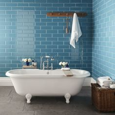 Topps Tiles Supersized Metro Brick Tiles - maybe Mary wants color in her bathroom! Loft Bathroom, Family Bathroom, Bathroom Wall, Bathroom Interior, Tiled Bathrooms, Bathroom Ideas, Small Bathrooms, Blue Bathroom Tiles, Brick Bathroom
