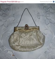 RESERVED 1930s Brocade Wedding Purse Floral Satin Silk Seed Pearl Gold Cream Ivory 30s Antique Hand Bag Formal Bridal Gatsby Flapper Era Eve