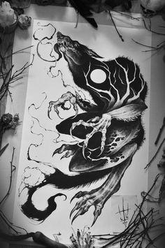 Shield amazing work by Sergei Titukhamazing work by Sergei Titukh Tattoo Sketches, Tattoo Drawings, Body Art Tattoos, Art Sketches, Art Drawings, Creepy Drawings, Creepy Art, Fenrir Tattoo, Werewolf Art