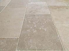 Vaucluse Aged French Limestone Flooring - Historic Decorative Materials, a division of Pavé Tile, Wood & Stone, Inc. Barn Wood Bathroom, Rustic Bathroom Vanities, Bathroom Floor Tiles, Tile Floor, Belgian Blue, Bluestone Pavers, Rustic Toilets, Limestone Flooring, Oak Flooring