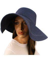 """50 UPF Protection Beach Summer Braid Wide 4-1/2"""" Brim Floppy Sun Hat Cap Navy"""